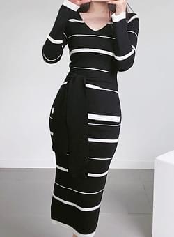 Stripe knit two piece