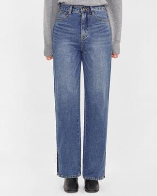 ray slit detail long denim pants (s-xl)
