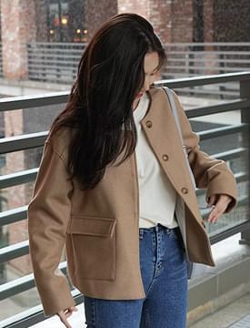 Crop round collar jacket_M (울 60%) (size : free)