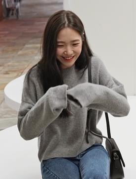 Blush wool crop knit_S (울 80%) (size : free)