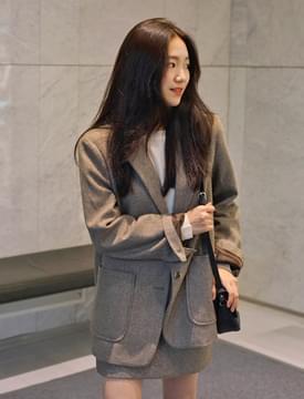 Mono herringbone pocket jacket_S (울 60%) (size : free)