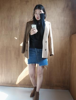 unbalance denim skirt (2colors)