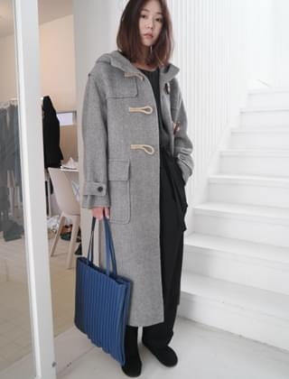 herringbone hood coat (2colors)