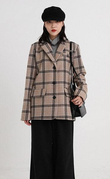wide check single jacket (2colors)