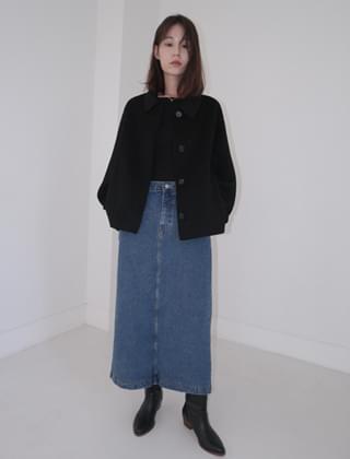 basic long denim skirt (2colors)