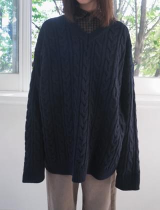cozy cable V knit (3colors)