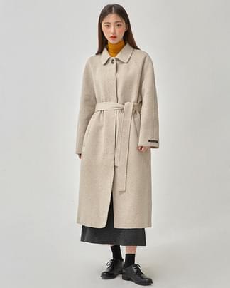 chocolate handmade coat (wool90%)