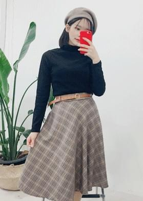 Flea Check Long Skirt