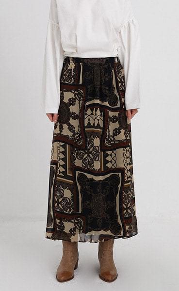 hippy pattern long skirt (2colors)