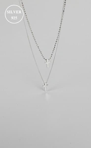 (silver925) mini double cross neckleace