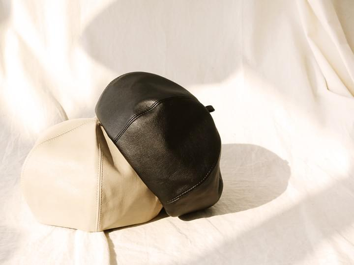 POINT LEATHER BERET