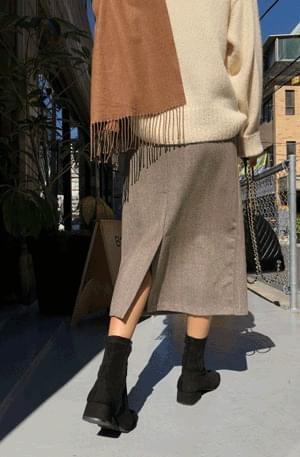 Latteria-herringbone wool skirt