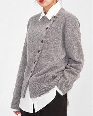 slash button wool cardigan