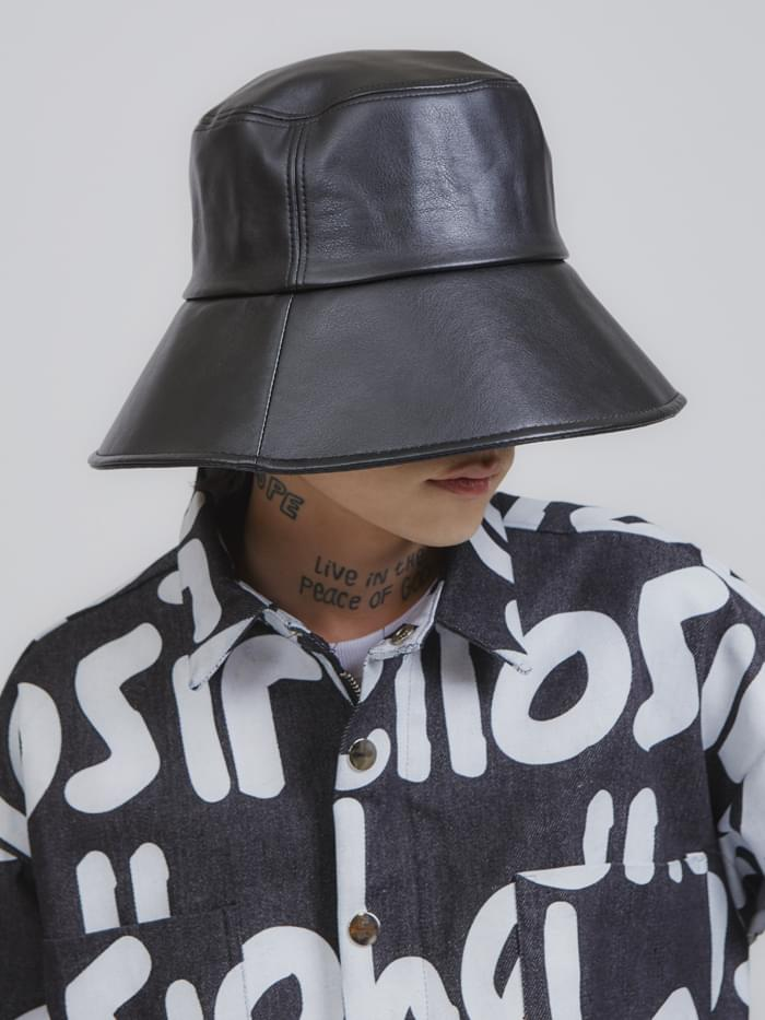wide leather bucket hat