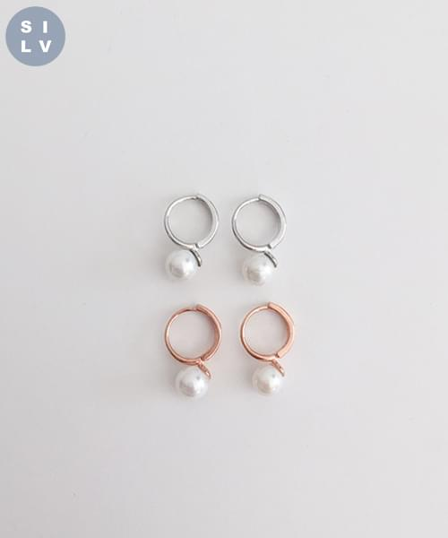 (silver925) onetouch pearl earring