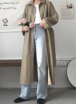 Khaki Beige Ribbon Long Leather Coat