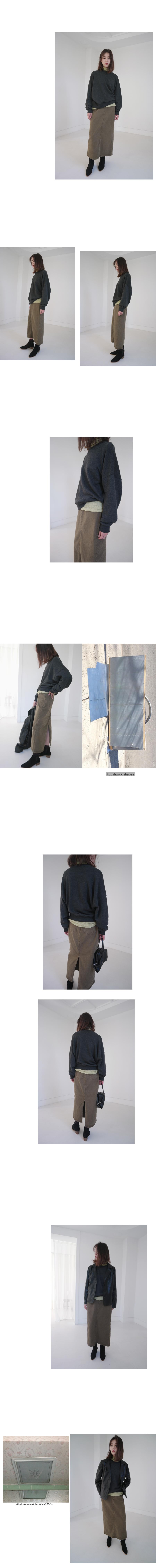 simple cotton long skirt (2colors)