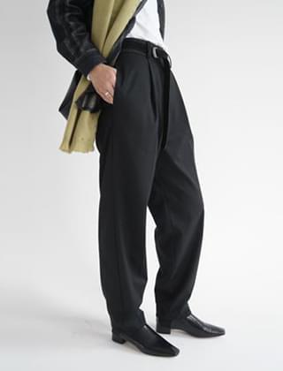 jacquard block pot wide slacks (black)
