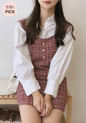 JETIN - tweed dress + shirt set