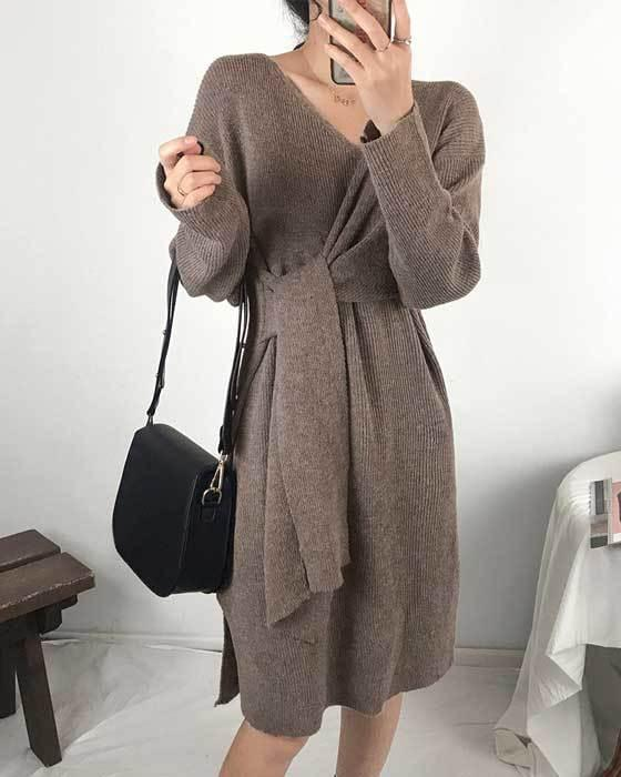 Basic Kink Knit Knit Wrap Dress 2 color