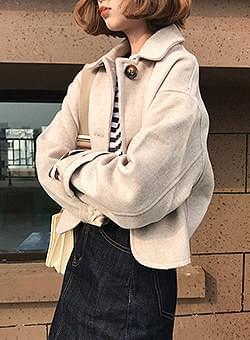 Three Button Round Woolen Crop Jacket