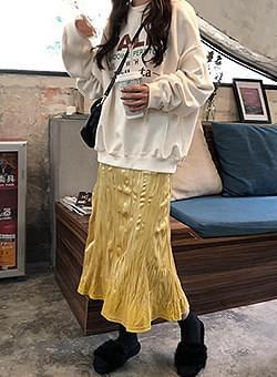 Yellow glitter long skirt