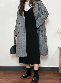 Hound Tooth Check Double Button Long Coat