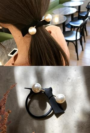 Gold pearl ribbon Hair strap