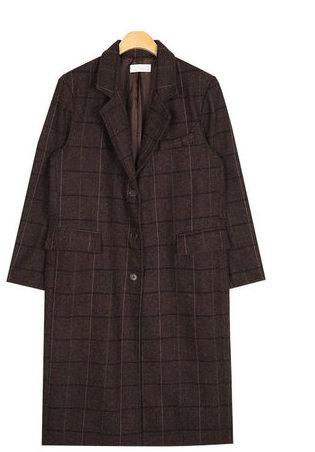 premium check long coat