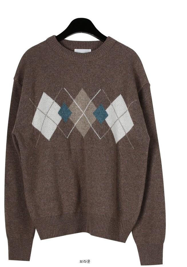 Argyle round wool knit