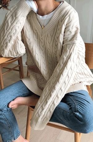 Lovemood-knit v-neck twine