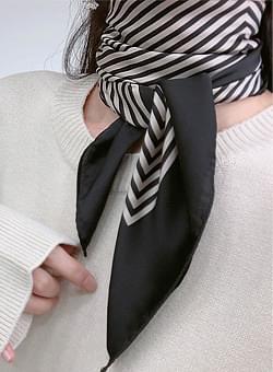 Silky striped square scarf