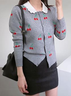 Gray collar cherry cardigan