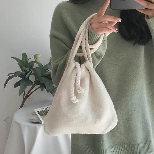 Soft knit bucket bag
