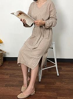 Bocashi V-neck knit long dress