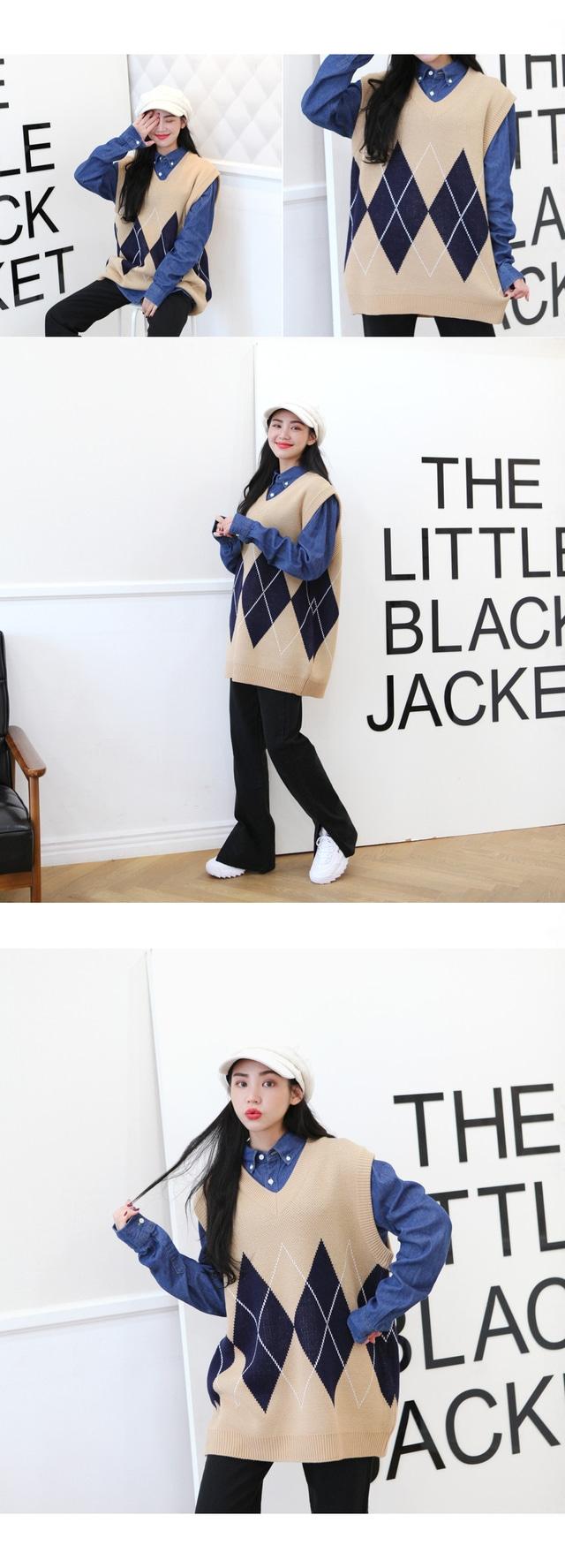 Sermonemo Argyle knit vest ♥ Unisex ♥
