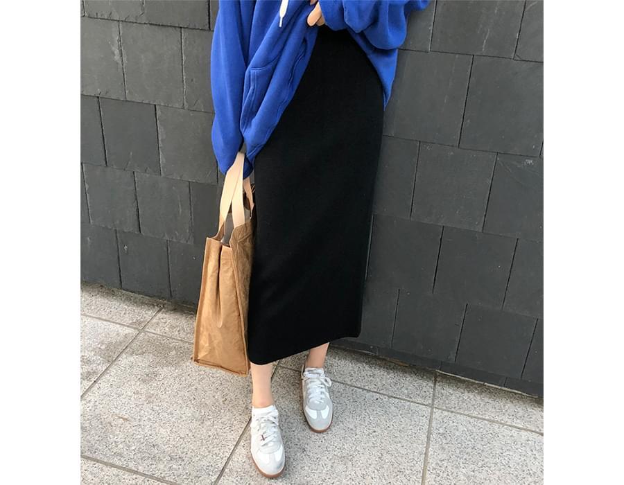 Maben slit knit skirt_B (size : free)