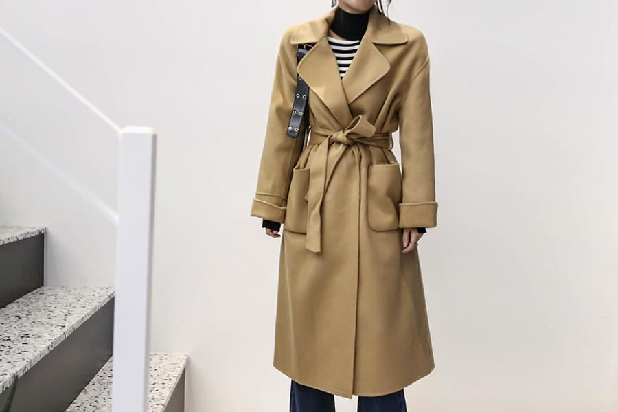 Handmade wool90%> Loose Pitch Trench Long Coat_CT02772