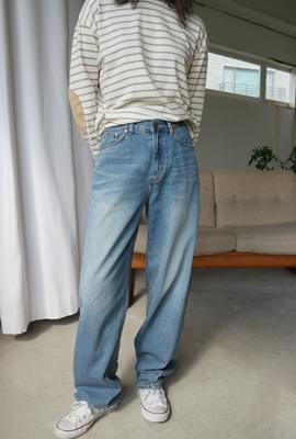 Cool washing wide denim pants