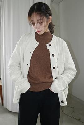 Lovable cable girlish cardigan