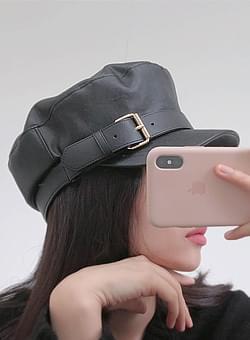Leather belt hunting cap