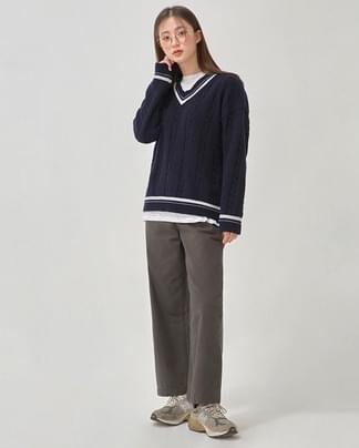 butter v-neck wool knit