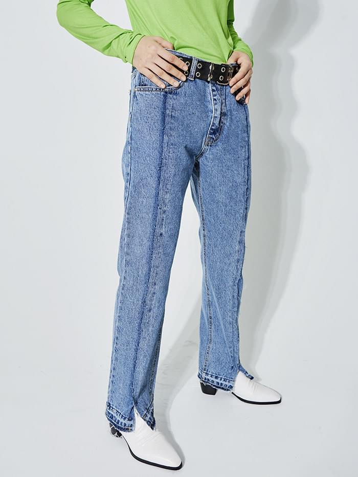 remake denim slit jeans - UNISEX