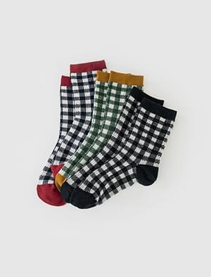 coloration check socks