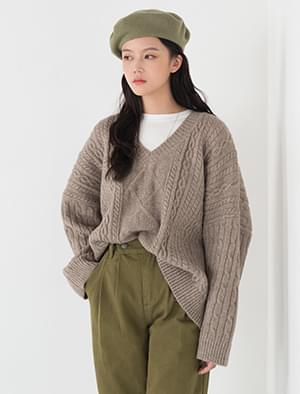 twine texture v-neck knit