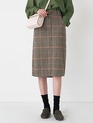 banding check pattern midi skirt