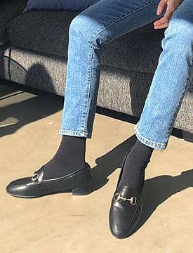 Glam buckle black loafer_M (size : 230,235,240,245,250)