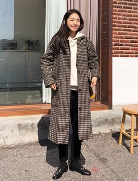 Oreo check single coat_M (울 50%) (size : free)