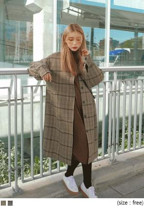 HOUND CHECK SINGLE WOOL COAT