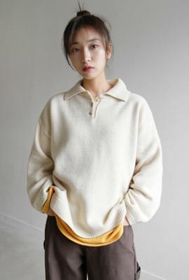 Soft texture loose collar knit